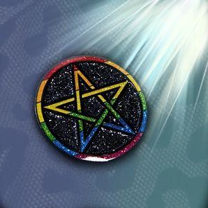 Geeky And Kinky PENTAGRAM PRIDE PIN Black Rainbow